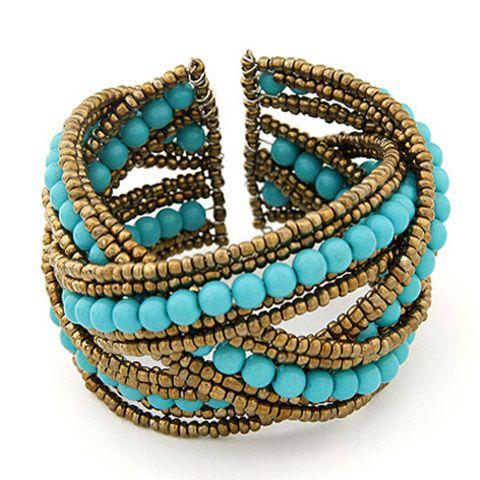 Bohemia Crossed Beads Decorated Bracelet