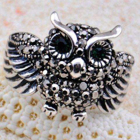 Vintage Rhinestoned Owl Shape Alloy Ring For Women