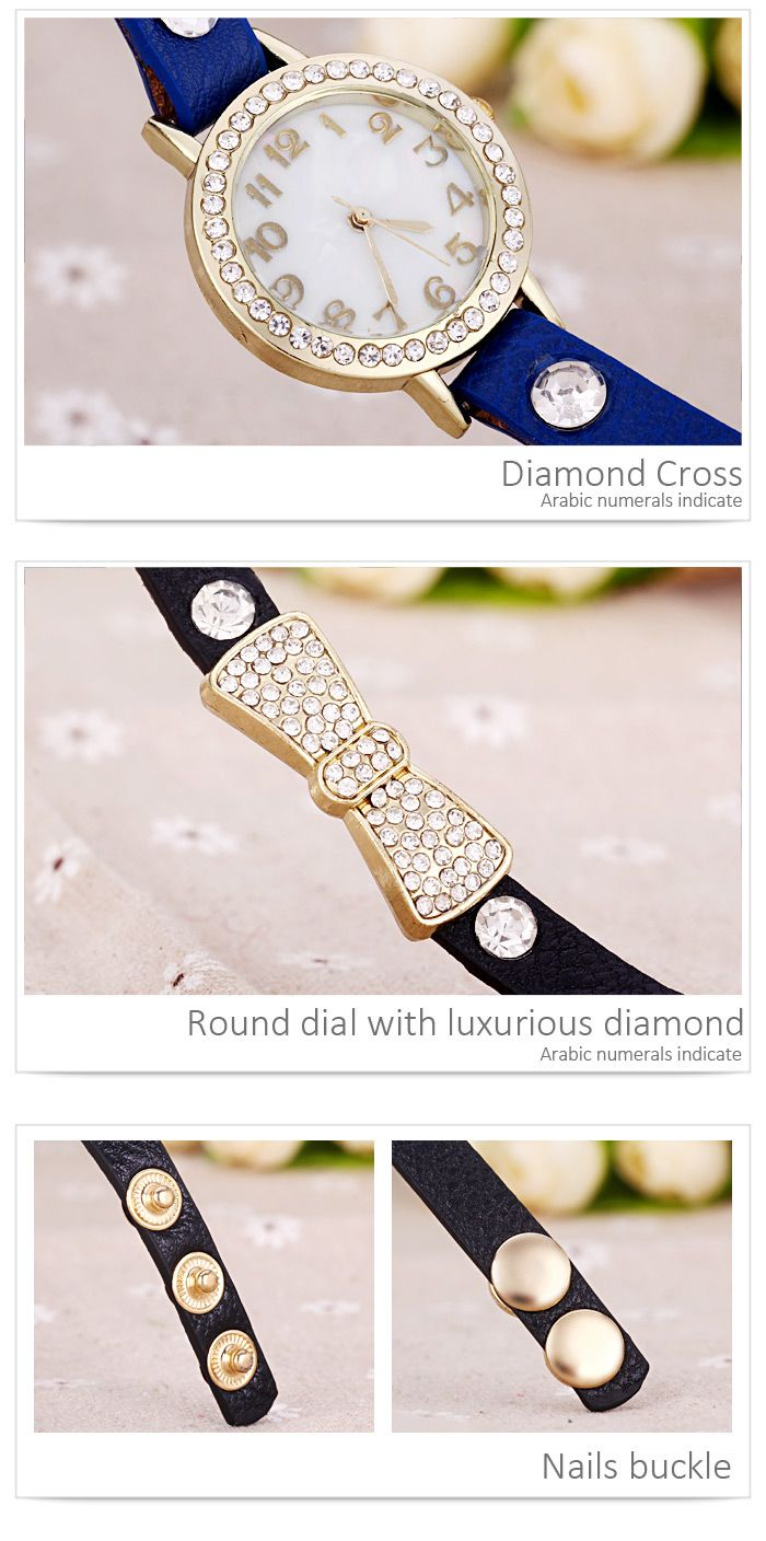 Quartz Wrist Watch Butterfly Knot Diamond Round Dial Leather watchband for Women