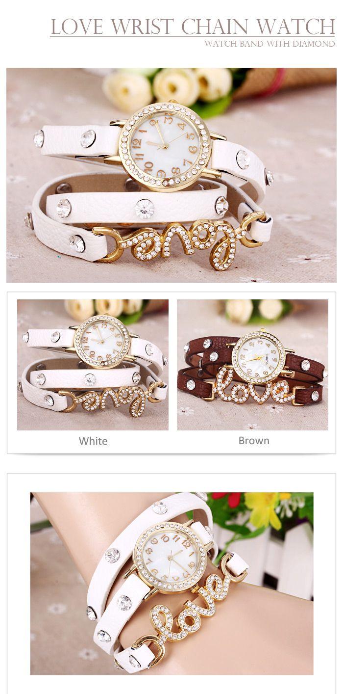 Quartz Wrist Watch Love Word Diamond Round Dial Leather Watchband for Women