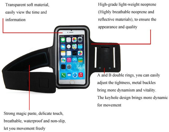 Dual Holes Sports Soft Tactility Durable Armband Holder Pouch Protective Case for iPhone 6 6S