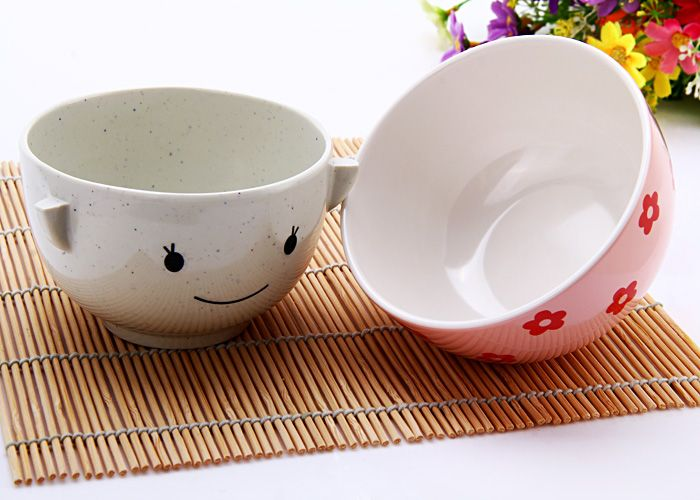 Cute MM Plastic Cup Bowl Unbreakable Rice Soup Bowl for Christmas Valentine Gift