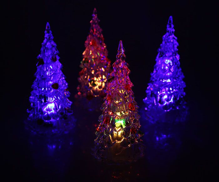 4Pcs 12cm Multi-Color Slow Twinkle Romantic LED Desktop Crystal Christmas Tree with Colorful Leaves Decoration