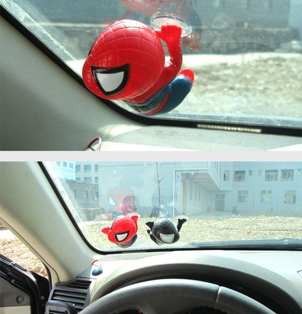 Car Decorations 12cm Spider Doll Window Sucker Climbing Spiderman Toy