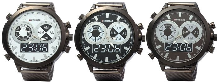 SHIWEIBAO A1052 Male Quartz Watch with Round Dial Steel Watchband