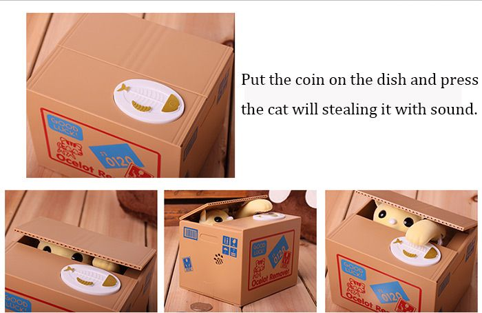 Innovative Stealing Coin Cat Piggy Bank / Money Pot Birthday Gift for Coins Collection