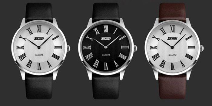 Skmei 9092 Ultrathin Japan Quartz Watch Water Resistant Leather Band for Men