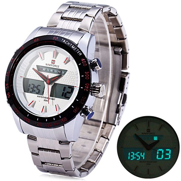 Naviforce 9024 Dual Movt Male Cool Watch with Date Day Function Water Resistance