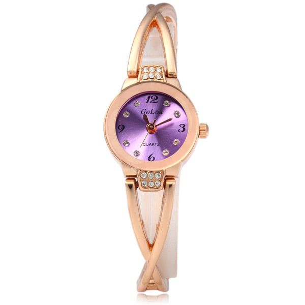 Golou G008 Quartz Chain Watch with Round Dial Steel Strap for Women