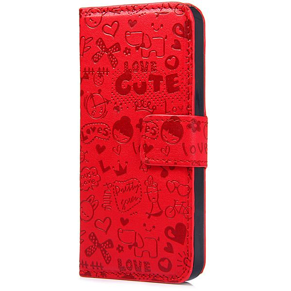 Magnetic Snap Design PU Leather Flip Protective Cover Case for iPhone SE / 5 / 5S