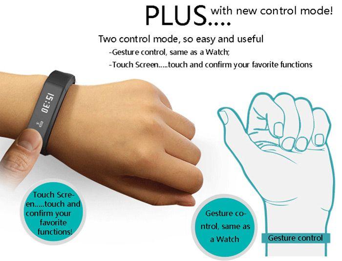 I5 Plus Smart Bracelet IP65 Bluetooth 4.0 Watch Wristband Sleep Monitoring Sports Tracking Remote Camera
