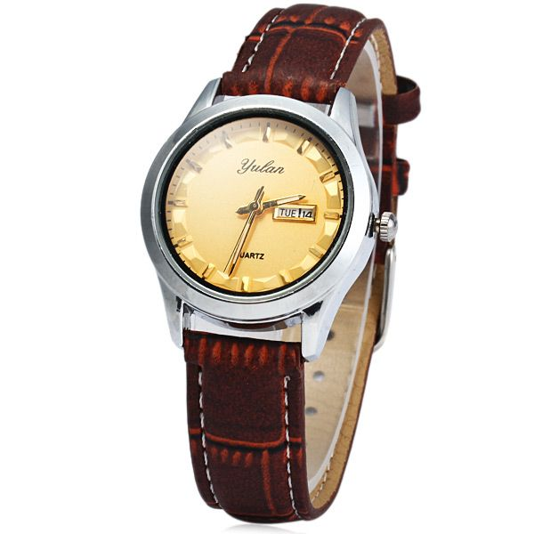 Yulan 2836L Female Quartz Watch Date Day Function Leather Strap