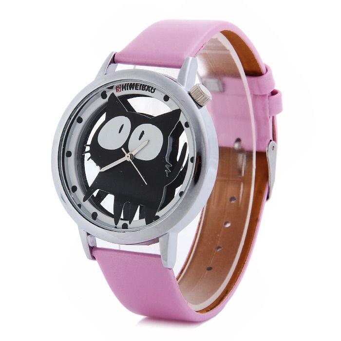 Shiweibao A7741 Cat Design Transparent Dial Quartz Watch Leather Strap