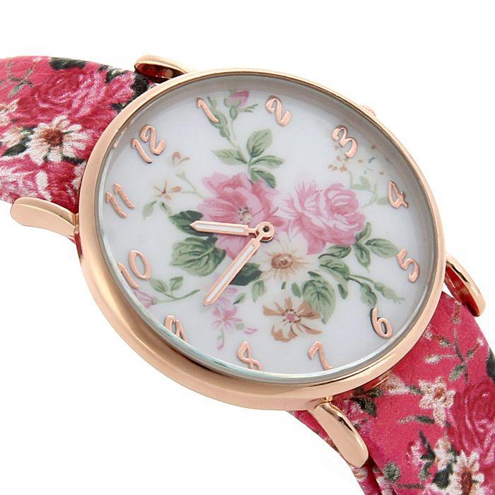 Floral Pattern Leather Band Women Quartz Watch