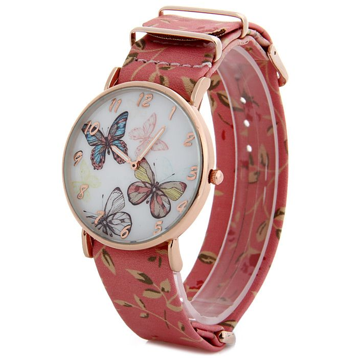 Butterfly Dial Floral Pattern Leather Band Women Casual Quartz Watch