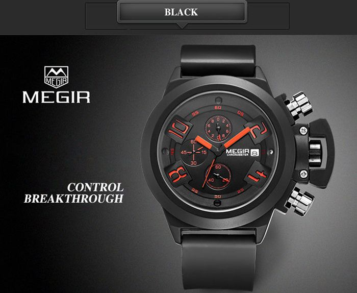 MEGIR 2002 Male Quartz Watch Date Display Silicone Band 30M Water Resistance