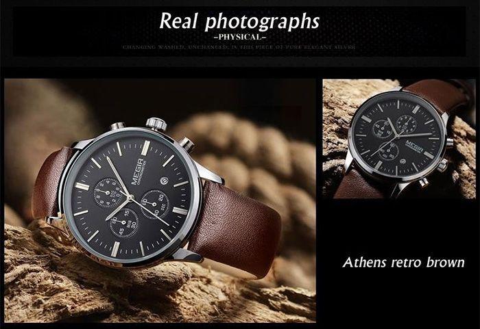 MEGIR 2011 Male Japan Quartz Watch Date Display Genuine Leather Band 30M Water Resistance