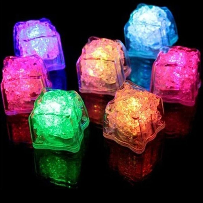 12Pcs Simulation Ice Light Small RGB Flash Ice Cube Change LED Light