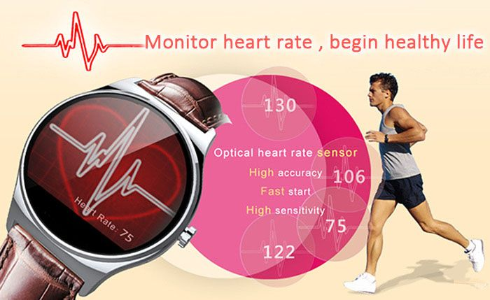 RWATCH R11 MTK2501 Smart Bluetooth Watch IP67 Infrared Remote Controller Camera Remote Heart Rate Monitor Genuine Leather Band