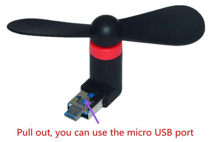 USB 2.0 to Micro USB Mini 2-Blade Fan for PC Laptop