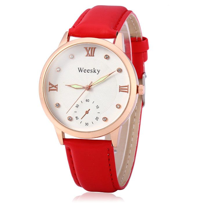 Weesky Luminous Pointer Diamond Women Quartz Watch with Golden Case Decorative Sub-dial Leather Strap