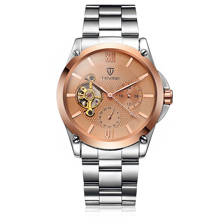Tevise 8502 Men Tourbillon Automatic Mechanical Watch with Two Working Sub-dials Alloy Strap