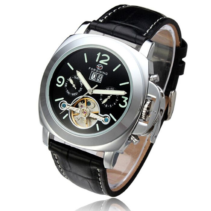 Forsining 005 Men Tourbillon Genuine Leather Band Automatic Mechanical Watch with Two Working Sub-dials
