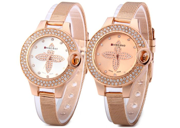 Shiweibao A1468 Flower Pattern Diamond Dial Quartz Watch with Steel Net Strap for Women