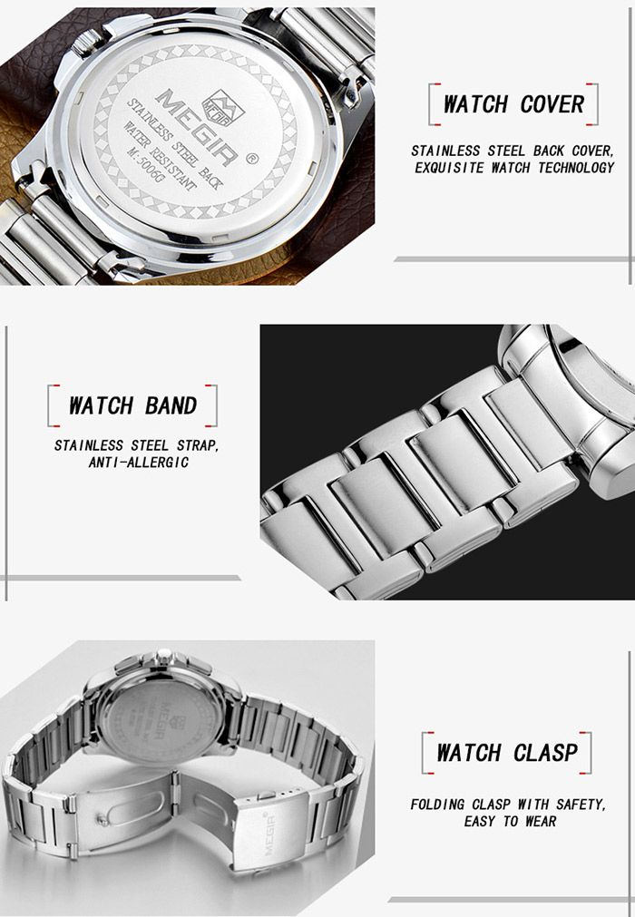MEGIR 5006 Water Resistant Male Japan Quartz Watch with Stainless Steel Strap Working Sub-dials