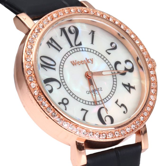 Weesky 1212 Golden Case Diamond Quartz Watch with Leather Band for Women