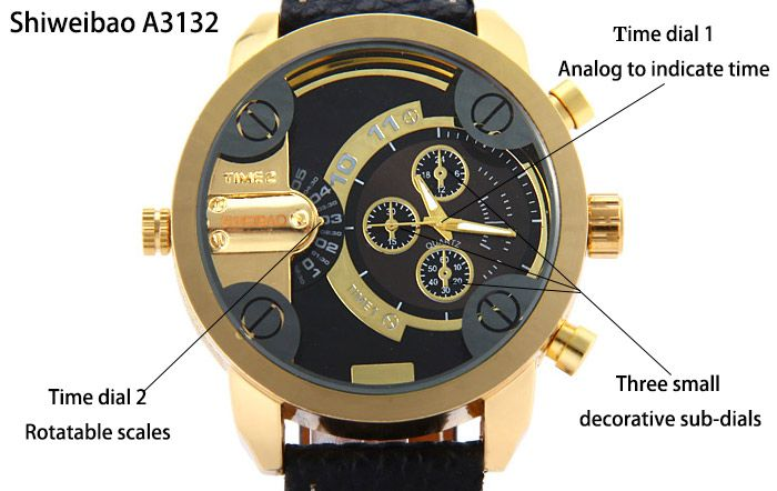 Shiweibao A3132 Dual Movt Male Quartz Watch Leather Strap Round Dial