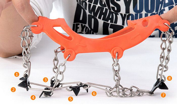 AOTU Anti-slip Mountaineering Climbing Crampons Boots Chain with 8 Teeth Ice Cleats or Crampons
