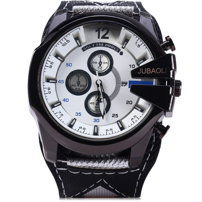 Jubaoli Decorative Sub-dials Quartz Watch Date Function Canvas + Leather Band for Men