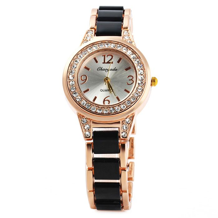 Chaoyada Female Diamond Quartz Watch Steel + Plastic Strap