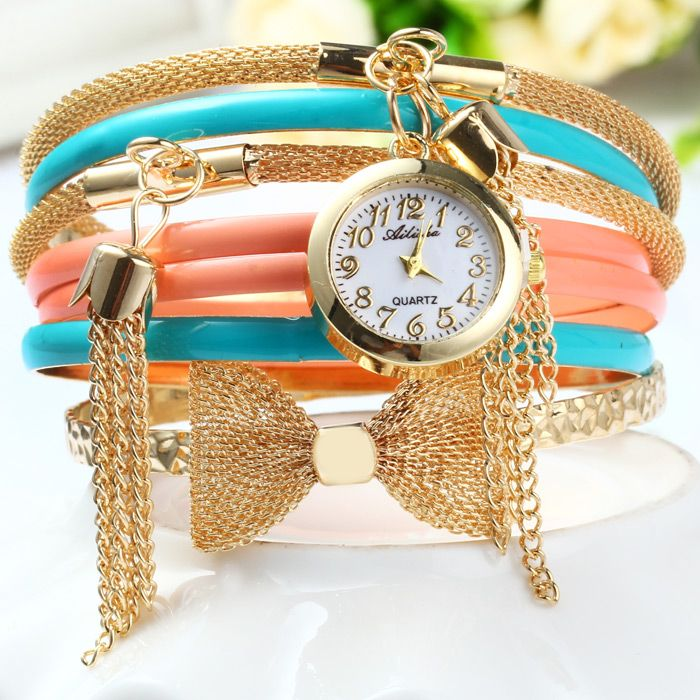 Ailisha Multilayer Quartz Chain Watch with Pendants Bowknot for Women