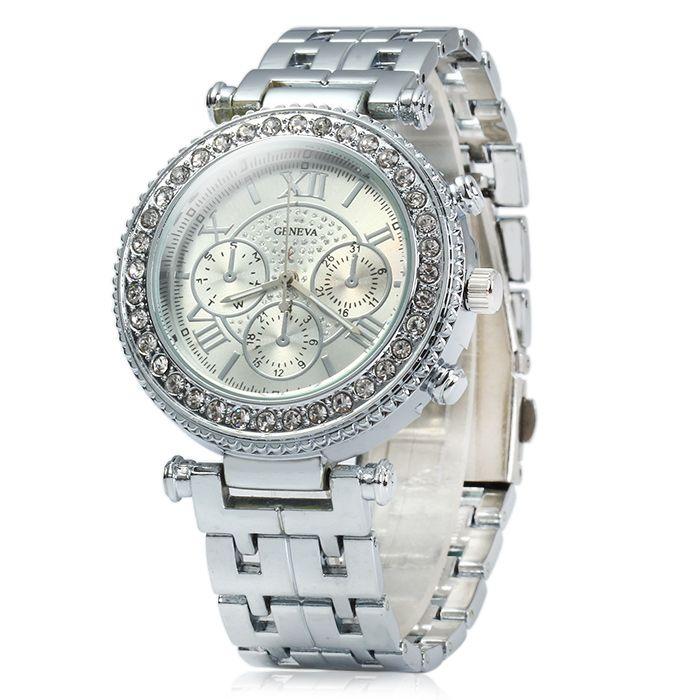 Geneva Female Quartz Watch with Diamond Bezel Stainless Steel Strap