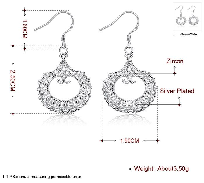 Pair of Silvered Plated Round Shape Hollow Out Drop Earrings