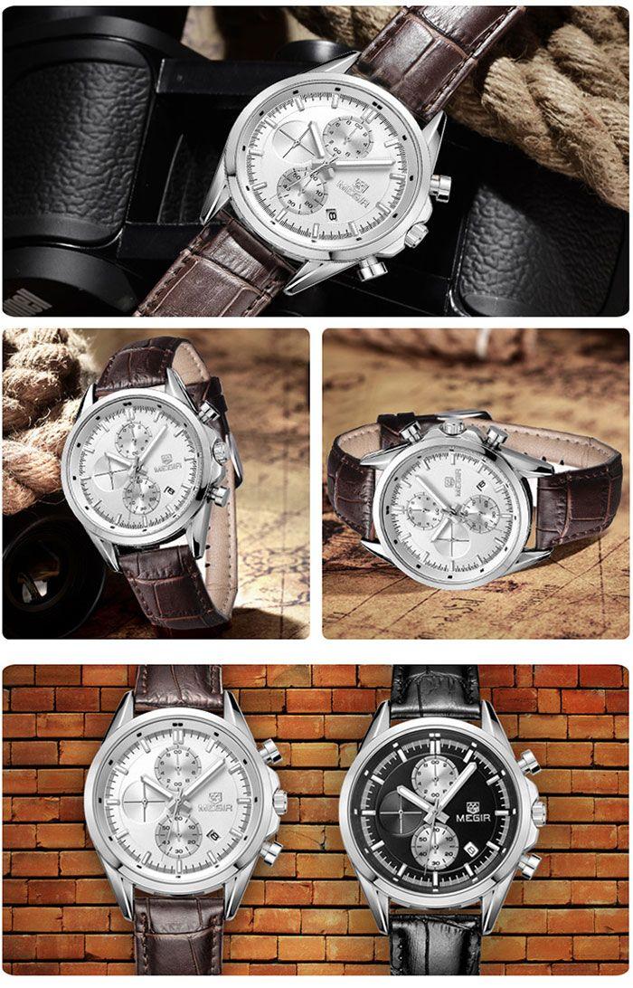 MEGIR 5005G Japan Quartz Watch Genuine Leather Band for Men