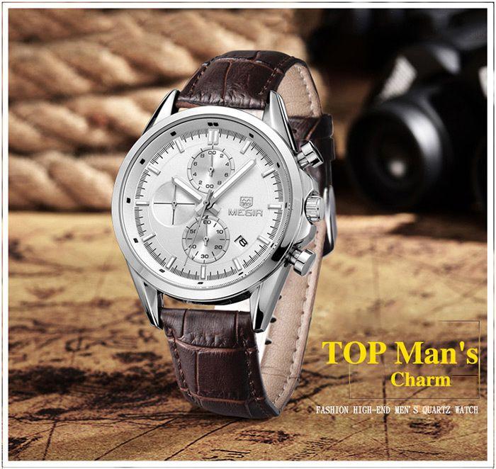 MEGIR 5005 Japan Quartz Watch Genuine Leather Band for Men
