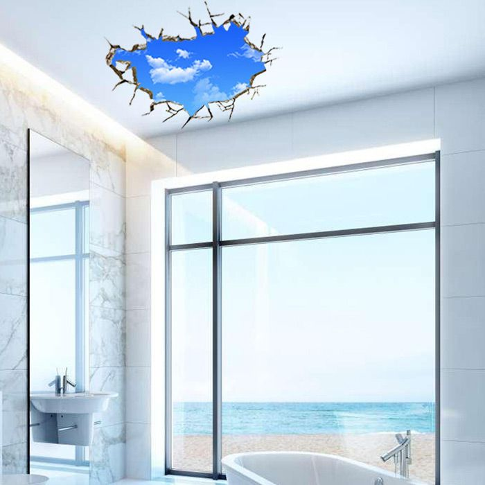 3D Blue Sky and White Cloud Style Removable Wall Stickers Colorful Room Window Decoration