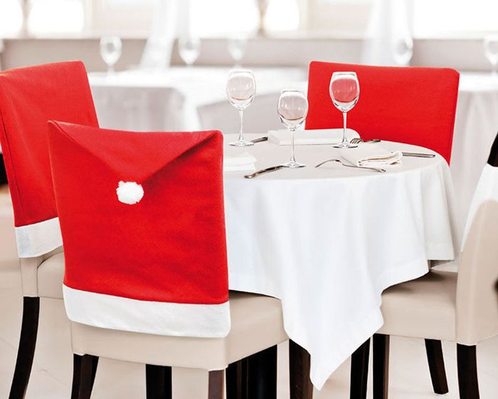 Santa Claus Hat Chair Back Cover for Christmas Dinner Decoration Cap