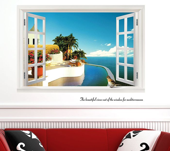 Beautiful 3D Seascape Style Removable PVC Wall Stickers Colorful Room Window Decoration