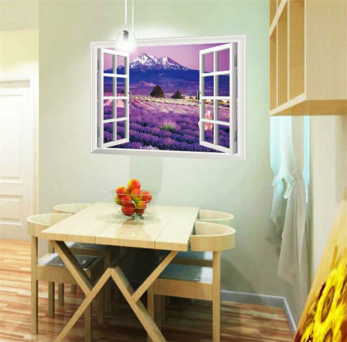 3D Beautiful Lavender Flower Sea Style Removable PVC Wall Stickers Colorful Room Window Decoration