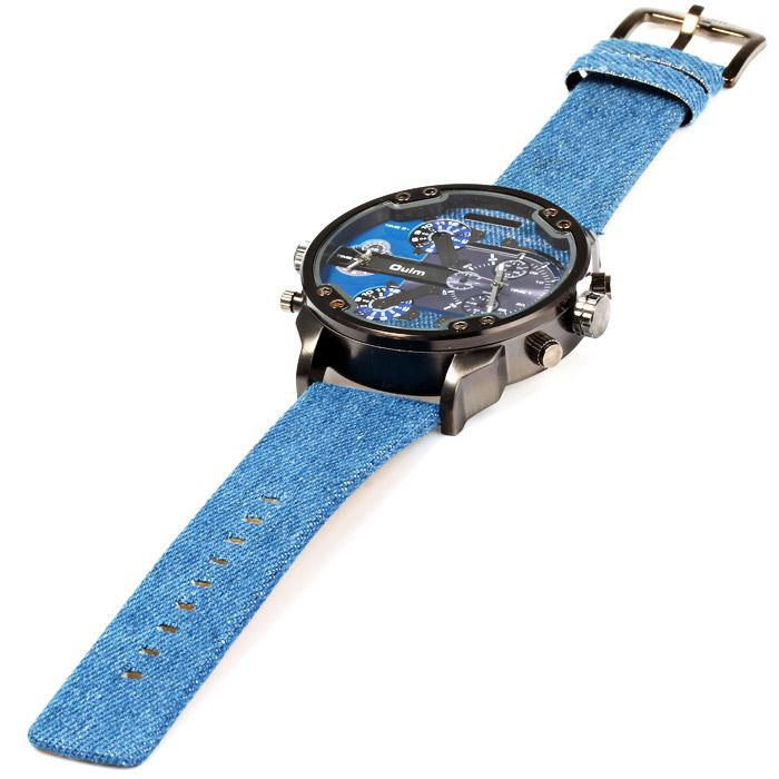 Oulm 3548 Male Quartz Watch Dual Movt Big Dial Wristwatch