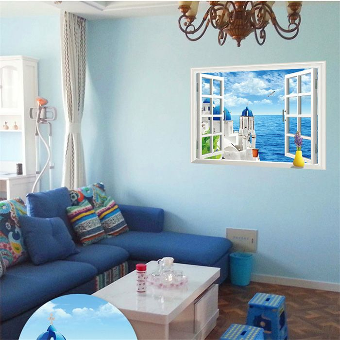 Beautiful 3D Love Sea Style Removable PVC Wall Stickers Colorful Room Window Decoration