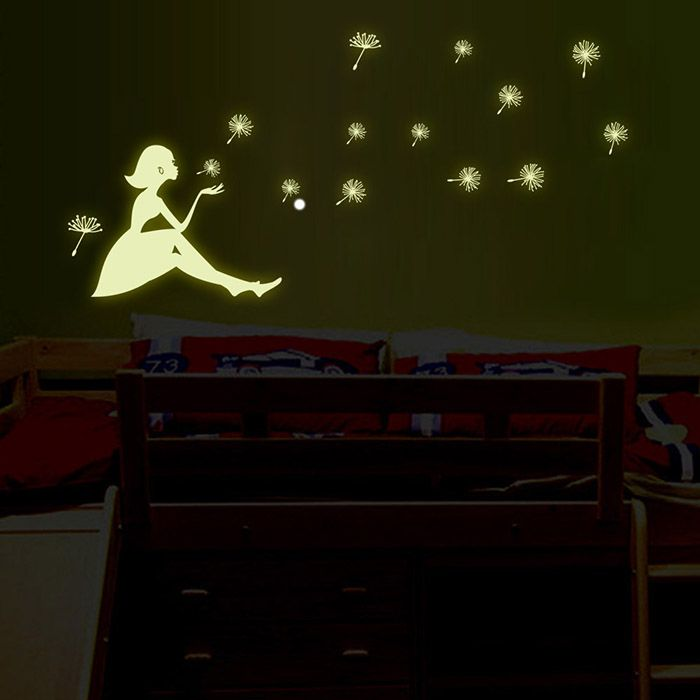 Dandelion and Girl Style Fluorescent Wall Stickers Funny Luminous Wallpaper for Home Decorations