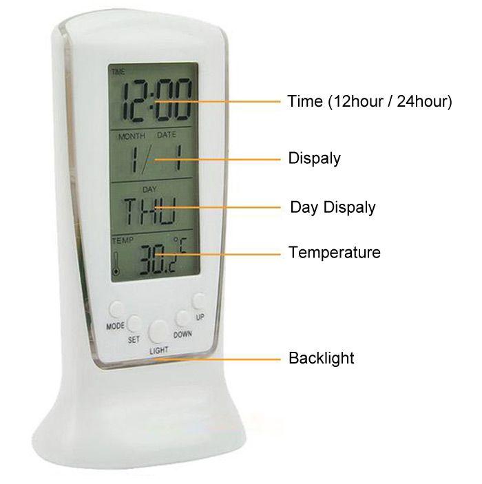 LED Digital Backlight Alarm Clock Music Calendar Thermometer Desktop Decoration