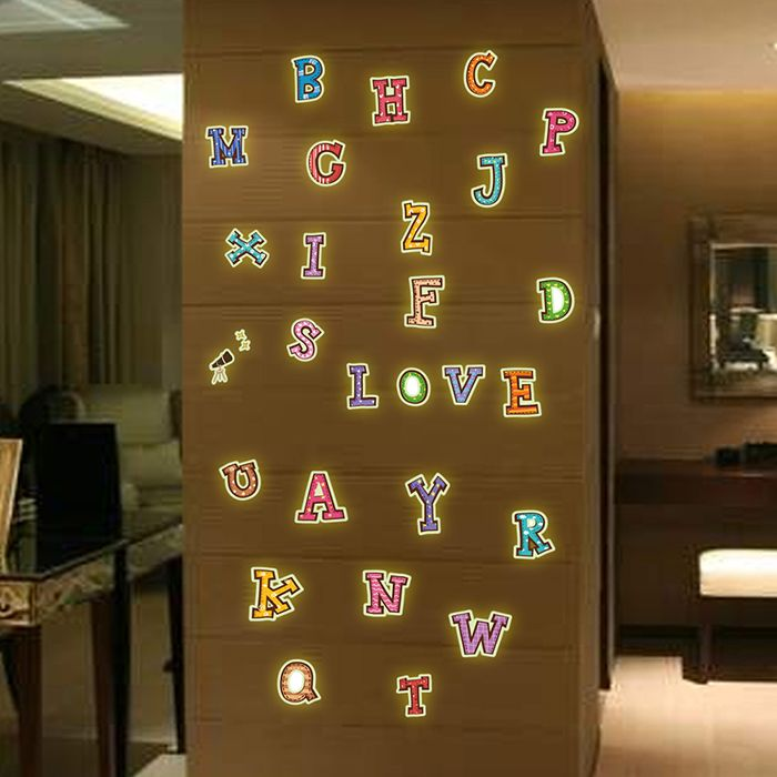 Colorful English Alphabet Style Fluorescent Wall Stickers Funny Luminous Wallpaper for Home Decorations