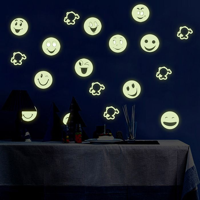 Colorful Cartoon Smiling Face Style Fluorescent Wall Stickers Funny Luminous Wallpaper for Home Decorations