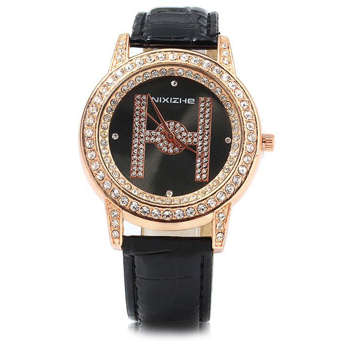 NIXIZHE Diamond Women Quartz Watch with Letter H Pattern